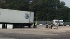 Migrants near lorry in Whitfield
