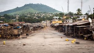 An empty local market area is seen, as Sierra Leone government enforces a three day lock-down on movement of all people in a attempt to fight the Ebola virus, in Freetown, Sierra Leone, Friday, Sept. 19, 2014.