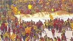 People demonstrating in favour of Catalan independence