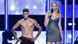 Justin Bieber (left) and model Laura Stone appeared at Fashion Rocks 2014 in New York City on 9 September 2014