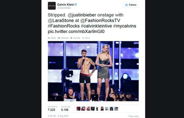 A 9 September Tweet from Calvin Klein