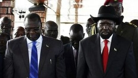 South Sudan president Salva Kiir and former deputy president Riek Machar