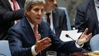 US Secretary of State John Kerry gestures during a United Nations Security Council meeting on Iraq - 19 September 2014