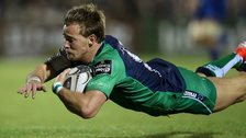 Connacht scrum-half Kieran Marmion dives over to score his try in Galway
