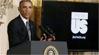 "US President Barack Obama launches the ""It's On Us"" campaign to help prevent sexual assault on school campuses while in the East Room at the White House in 19 September 2014"