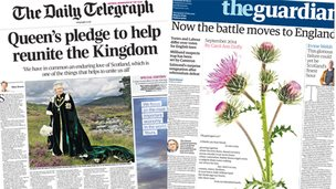 Composite of Telegraph and Guardian fronts