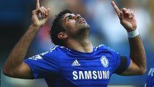 Diego Costa celebrates scoring against Swansea