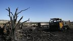 Destroyed Ukrainian military vehicles