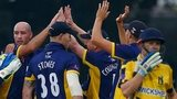 Durham's Chris Rushworth dismisses William Porterfield of Warwickshire