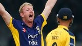 Paul Collingwood of Durham appeals successfully as he takes the wicket of Jonathan Trott of Warwickshire