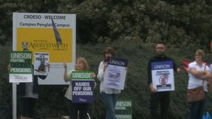 Staff take part in a walk-out at Aberystwyth University