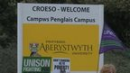 Workers are striking at Aberystwyth University