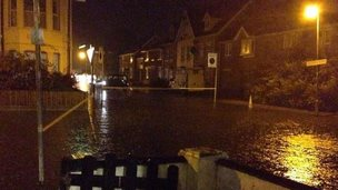 Flooded road in Southend
