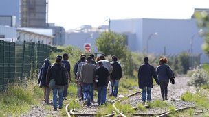 Migrants in Calais in August 2014