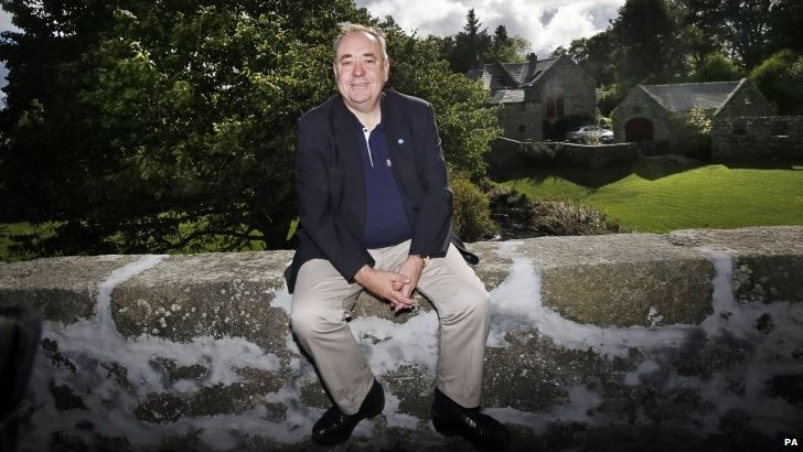 First Minister of Scotland Alex Salmond outside his home in Strichen, Scotland, after announcing yesterday that he will be standing down as First Minister following the Yes campaign