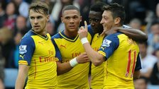 Arsenal celebrate during the victory at Aston Villa