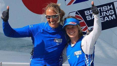 British sailors Hannah Mills (right) and Saskia Clark