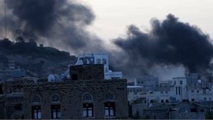 Smoke rising over Sanaa