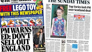 Front  pages of Mail on Sunday and Sunday Times