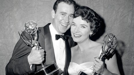 Carl Reiner and Polly Bergen pose with Emmy awards in 1958