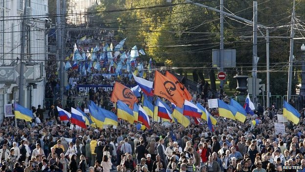 A large column of protesters waving both Russian and Ukrainian flags marched in central Moscow. Reuters.