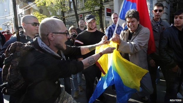 Supporters of pro-Russian separatists in Ukraine held their own smaller rally in Moscow. Reuters.