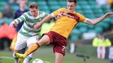 Kris Commons and Fraser Kerr battle for possession during Motherwell's trip to Celtic Park