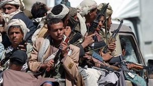 Houthi fighters in Sanaa, 21 September 2014