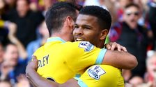 Fraizer Campbell (right) of Crystal Palace celebrates with teammate Joe Ledley