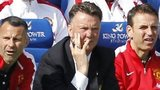 Manchester United manager Louis Van Gaal (centre) looks on during the loss at Leicester