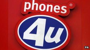 The Phones 4U shop sign.