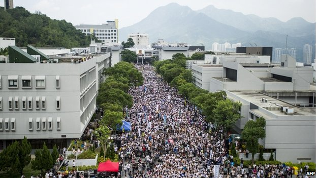 Students gather during a strike at the Chinese University of Hong Kong on 22 September 2014.