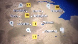 Weather map for East Midlands