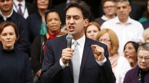 Ed Miliband addressing activists in Manchester