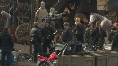 On the set of Peaky Blinders