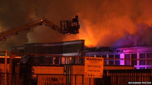 blaze at former st james primary school in renfrew