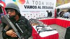 A police officer stands guard during an event to eliminate seized weapons in Caracas on 10 June, 2013