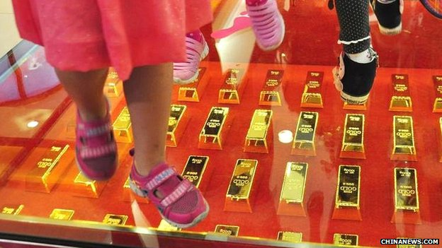 Walkway paved with gold bars at a shopping centre in Hubei province