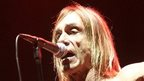 Iggy Pop in front of a microphone