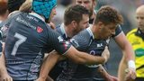 Ospreys players congratulate Rhys Webb