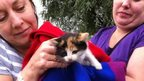 Lisa Merry and Sam Warrington with kitten
