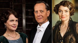 Elizabeth McGovern, Richard E Grant and Anna Chancellor as they appear in Downton Abbey