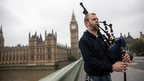 A Scottish piper at Westminster