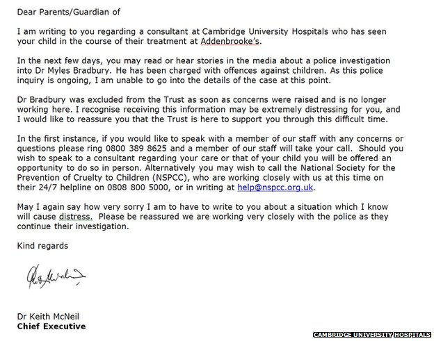 Myles Bradbury Addenbrookes Sorry Over Doctor Letters