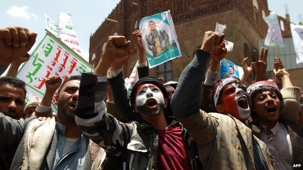 Houthi supporters protest in Sanaa (3 September 2014)