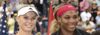 Caroline Wozniacki and Serena Williams after the US Open final