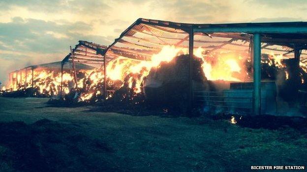 Barn in Bicester burning