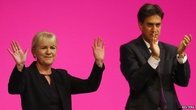 Johann Lamont and Ed Miliband at the Labour Party conference in Manchester