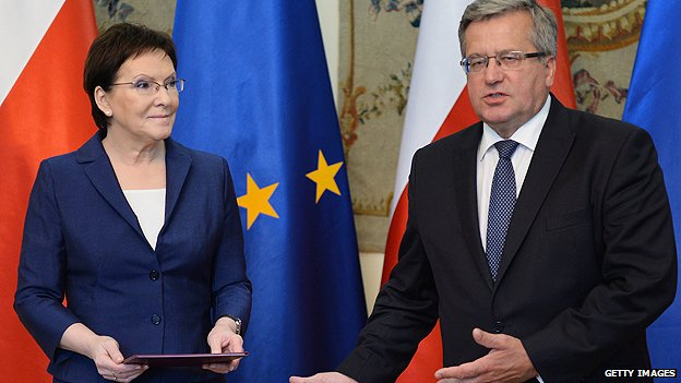 Polish President Komorowski (right) with Prime Minister Kopacz