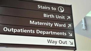 Maternity ward sign
